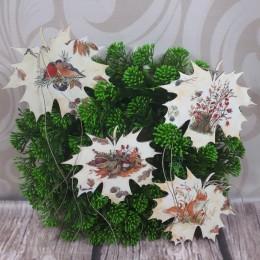 Dekoracja jesienna listki drewniane decoupage sprzedam 4 szt.