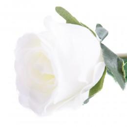 Róża sztuczna biała gałązka 55cm / sztuczna róża jak prawdziwa
