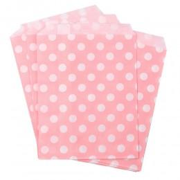 Torebki papierowe na cukierki różowe w białe groszki 10 szt.