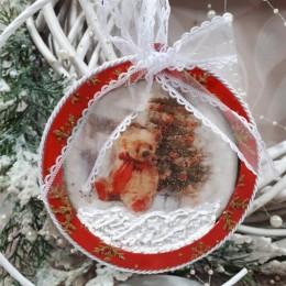 Świąteczna bombka drewniana płaska decoupage sprzedam MIŚ