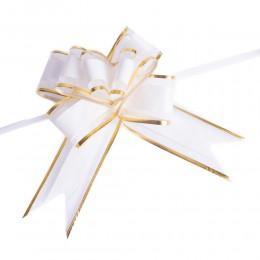 Wstążki ściągane kokardy biało złote 10 szt / wstążka składana kokarda