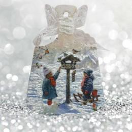 Świąteczna deseczka drewniana decoupage sprzedam ZIMA DZIECI