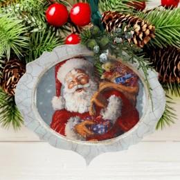 Ozdobna deseczka zawieszka bombka świąteczna MIKOŁAJ Z PREZENTAMI