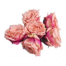 Róża główka wyrobowa morelowo-różowa / sztuczne róże główki wyrobowe
