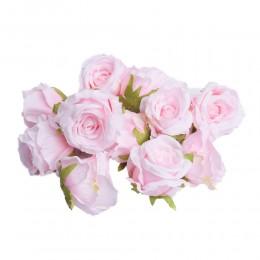 Sztuczne róże główki kwiatowe jasnoróżowe 7cm / róża główka