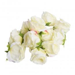 Sztuczne róże główki kwiatowe jasnożółte 7cm / róża główka wyrobowa