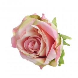 Sztuczne róże główki kwiatowe różowo-zielone 7cm / róża główka