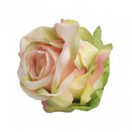 Sztuczne róże główki kwiatowe morelowo-zielone 7cm / róża główka