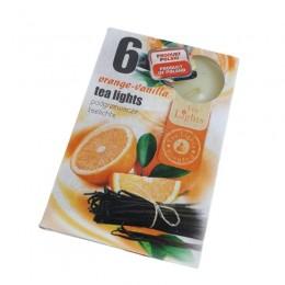 Podgrzewacze TEALIGHT świeczki zapachowe ORANGE-VANILLA 6 szt