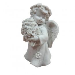 Figurka aniołek dziewczynka z bukietem kwiatów / anioł stróż pamiątka