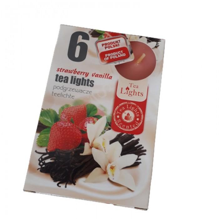 Podgrzewacze TEALIGHT świeczki zapachowe STRAWBERRY VANILLA 6 sztuk