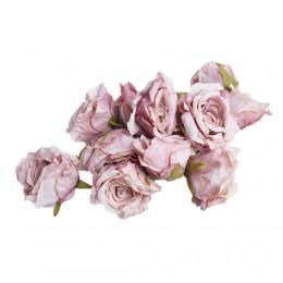 Róża główka wyrobowa pudrowy fiolet / sztuczne róże główki wyrobowe