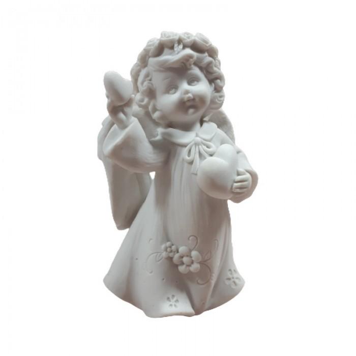 Figurka aniołka dziewczynki z sercem h 12cm pamiątka chrztu komunii