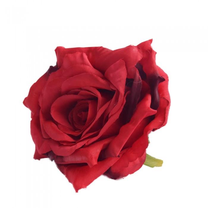 Sztuczne róże główki kwiatowe bordowe 7cm / róża główka wyrobowa