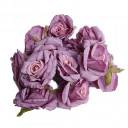 Róża główka wyrobowa fioletowa z jasnym środkiem / sztuczne róże