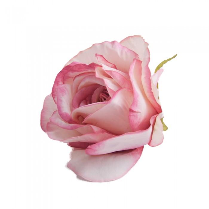 Róża główka wyrobowa różowa z ciemniejszym brzegiem / sztuczne róże