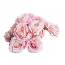 Róża główka wyrobowa różowa dwukolorowa / sztuczne róże główki