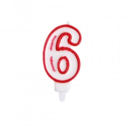 Świeczka urodzinowa numer 6 na tort / świeczka cyferka 6