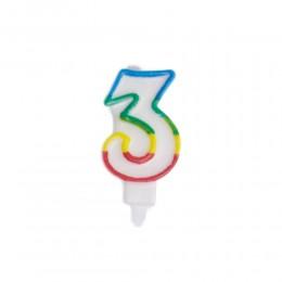 Świeczka urodzinowa kolorowy numer 3 na tort / świeczka cyferka 3