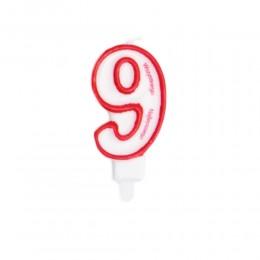 Świeczka urodzinowa numer 9 na tort / świeczka cyfra 9
