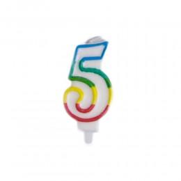 Świeczka urodzinowa kolorowy numer 5 na tort / świeczka cyferka 5