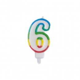 Świeczka urodzinowa kolorowy numer 6 na tort / świeczka cyferka 6