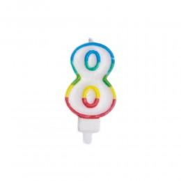 Świeczka urodzinowa kolorowy numer 8 na tort / świeczka cyferka 8