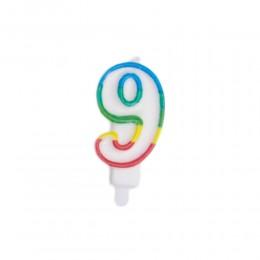 Świeczka urodzinowa kolorowy numer 9 na tort / świeczka cyferka 9
