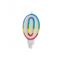 Świeczka urodzinowa kolorowy numer 0 na tort / świeczka cyferka 0