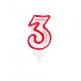 Świeczka urodzinowa numer 3 na tort z napisem / świeczka cyfra 3