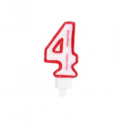 Świeczka urodzinowa numer 4 na tort z napisem / świeczka cyfra 4