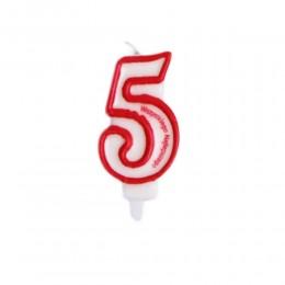 Świeczka urodzinowa numer 5 na tort z napisem / świeczka cyfra 5