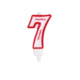 Świeczka urodzinowa numer 7 na tort z napisem / świeczka cyfra 7