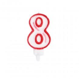 Świeczka urodzinowa numer 8 na tort z napisem / świeczka cyfra 8
