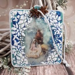 Zawieszka Bożonarodzeniowa z Św. Rodziną wykonana metodą decoupage