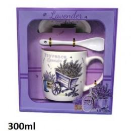Ceramiczny kubek z łyżeczką i podstawką lawenda w fioletowej taczce 300ml