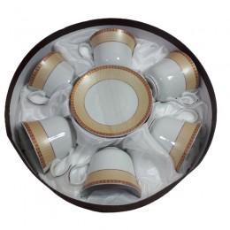 Zestaw 6 filiżanek ZŁOCONA KRATKA / komplet filiżanek do kawy