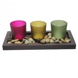 Dekoracja zestaw świeczników tealight 3 szt. drewniana podstawka