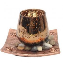 Dekoracja na stół szklany świecznik tealight z podstawką i kamieniami
