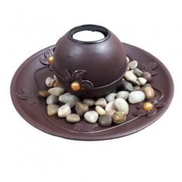 Dekoracja na stół okrągły świecznik tealight z podstawką i kamieniami