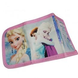 Jasnoróżowy portfel dla dziewczynki zapinany na rzep KRAINA LODU