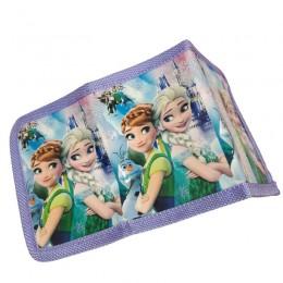 Fioletowy portfel dla dziewczynki zapinany na rzep KRAINA LODU