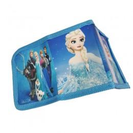 Niebieski portfel dla dziewczynki zapinany na rzep KRAINA LODU