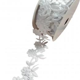 Wstążka ozdobna biała KWIATKI 1m 3,8 cm/ ozdobna taśma satynowa