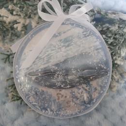 Bombki na choinkę ręcznie robione metodą decoupage biała ARKTYKA