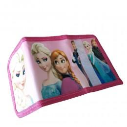 Różowy portfel dla dziewczynki zapinany na rzep KRAINA LODU