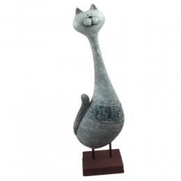 Duża figurka kota z kryształkami szkła h 43cm / kot figurka ceramiczna