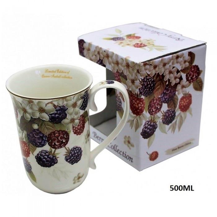 Duży wąski ceramiczny kubek do kawy na prezent JEŻYNY 500ml