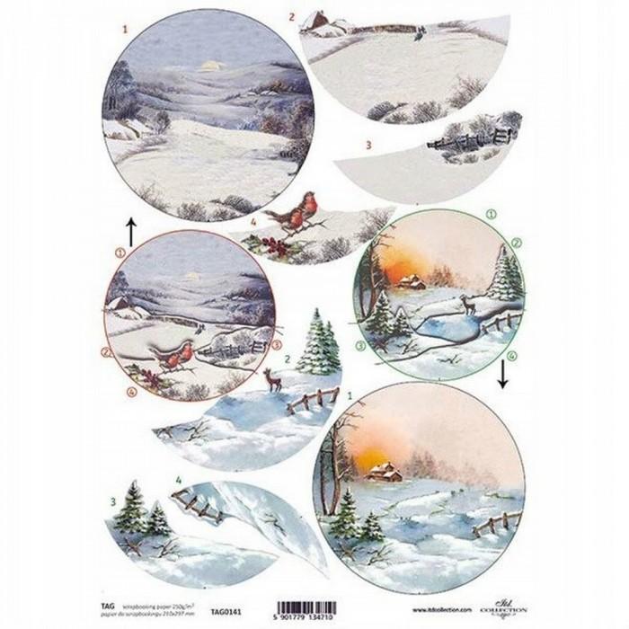 Obrazki 3D motyw świąteczny zimowy pejzaż do bombek decoupage