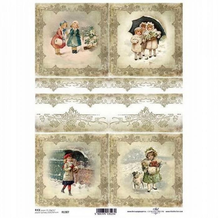 Papier ryżowy A4 ITD papiery Boże Narodzenie Zima obrazki dzieci